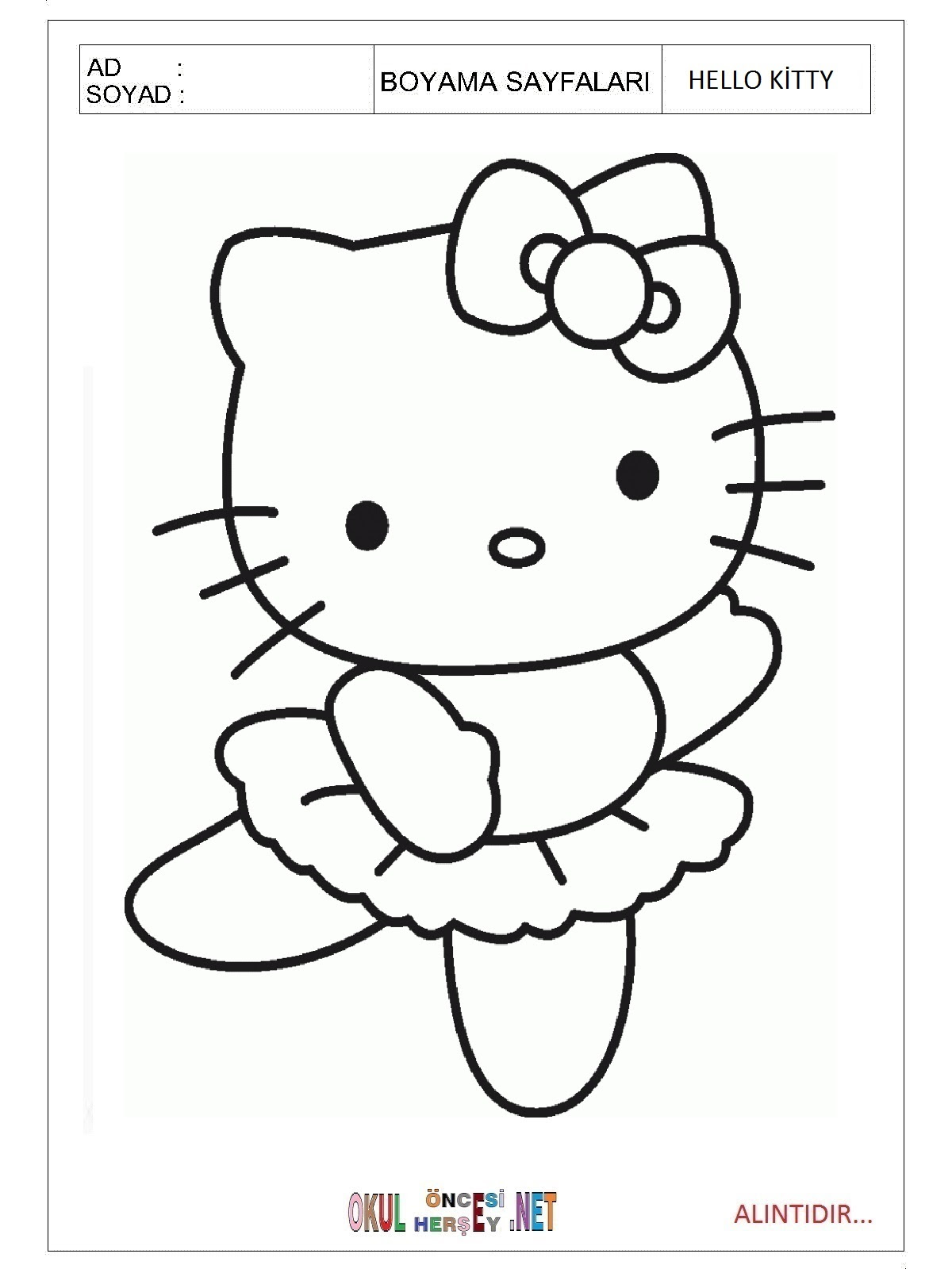 Hello Kitty Boyama Sayfalari