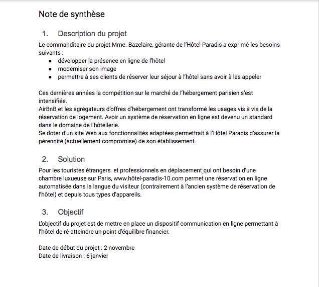 Exemple De Plan Note De Synthèse - Le Meilleur Exemple