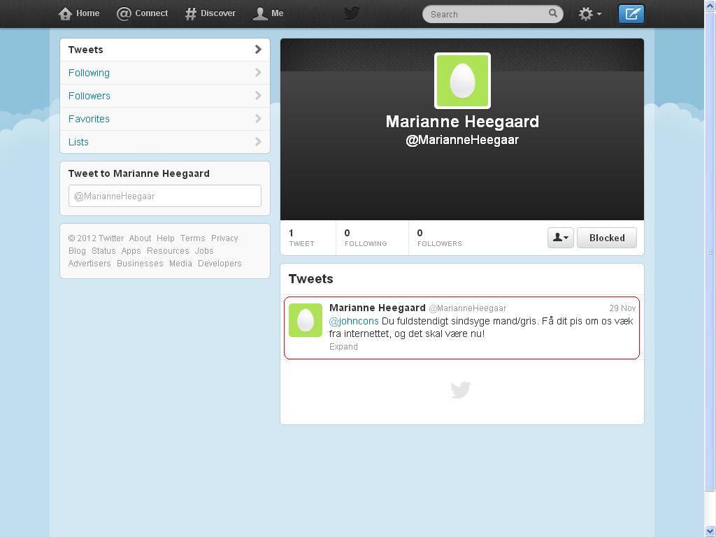 tweet klagde på heegaard