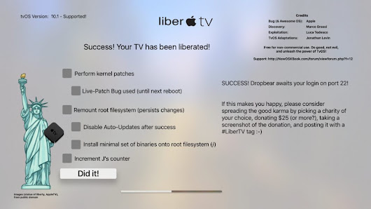 Apple TV 4 LiberTV Jailbreak tvOS 9.1-10.1 Released