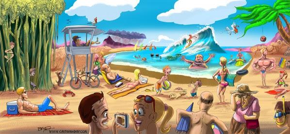 Cartoon Tropical Hawaii Beach Scene Final Cartoon