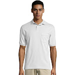 Hanes Men's Cotton-Blend EcoSmart Jersey Polo with Pocket 0504 - White