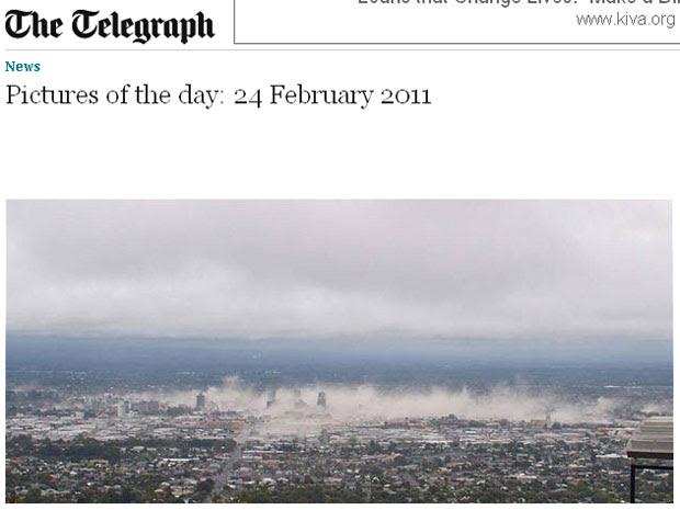 Foto de origem desconhecida registra os momentos seguintes ao terremoto que atingiu a cidade de Christchurch, na Nova Zelândia (Foto: Reprodução/Telegraph)