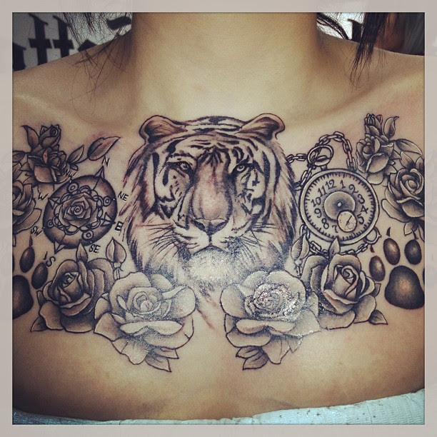 Grey Rose Flowers And Tiger Head Tattoos On Chest