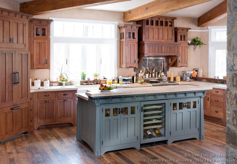 Craftsman Kitchen with Beautiful Woodwork and a Blue Center Island