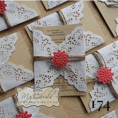 A6 Doily Wedding Invitation Set   Design 174   MYCARDS