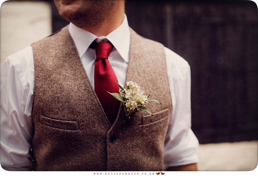 Groom waistcoat and buttonhole at Isaac Lord Ipswich Waterfront Isaac's Suffolk Unique Vintage wedding photography - Hello Romance Wedding Photography