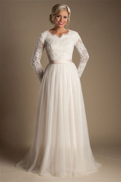 Modest A Line Long Sleeve Champagne Tulle Lace Wedding