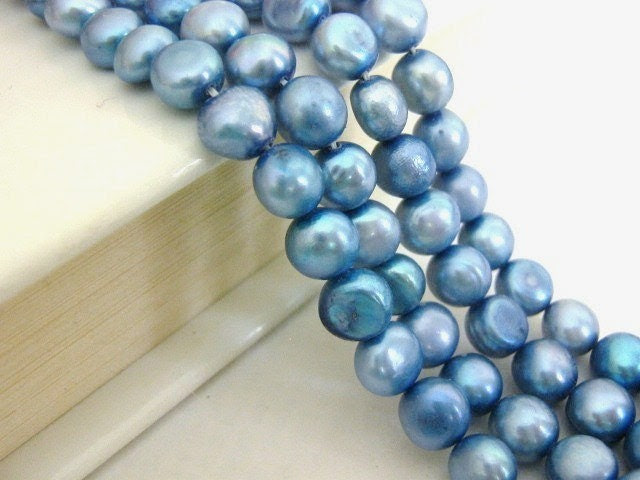 Blue Freshwater Pearls 7mm Flat Sided Round Beads 33 pcs - Beads2string
