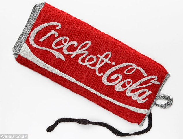 Cola knits: The artists spends hours with her crochet hook and wool to re-create iconic food and drinks brands such as Coca Cola