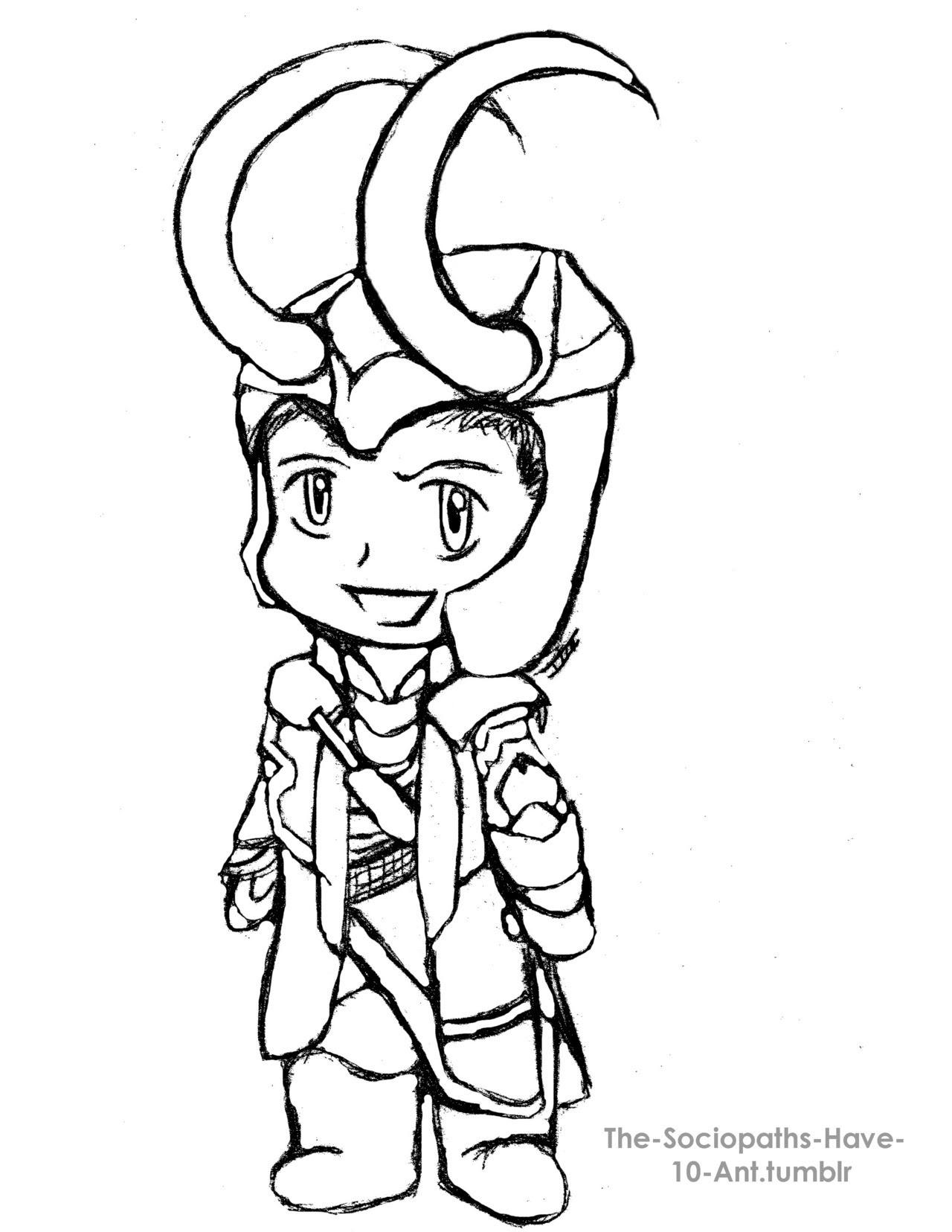 Loki Laufeyson sketch by NatachiXD on DeviantArt - Coloring Pages