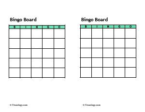 Blank Bingo Cards Template - Freeology