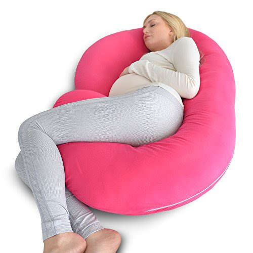 PharMeDoc Full Body Pregnancy Pillow - Maternity Pillow for Pregnant Women - C Shaped Body Pillow w/ 100% Cotton Pillow Cover - Baby House