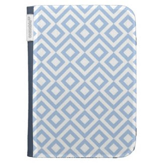 Light Blue and White Meander Kindle Keyboard Cases