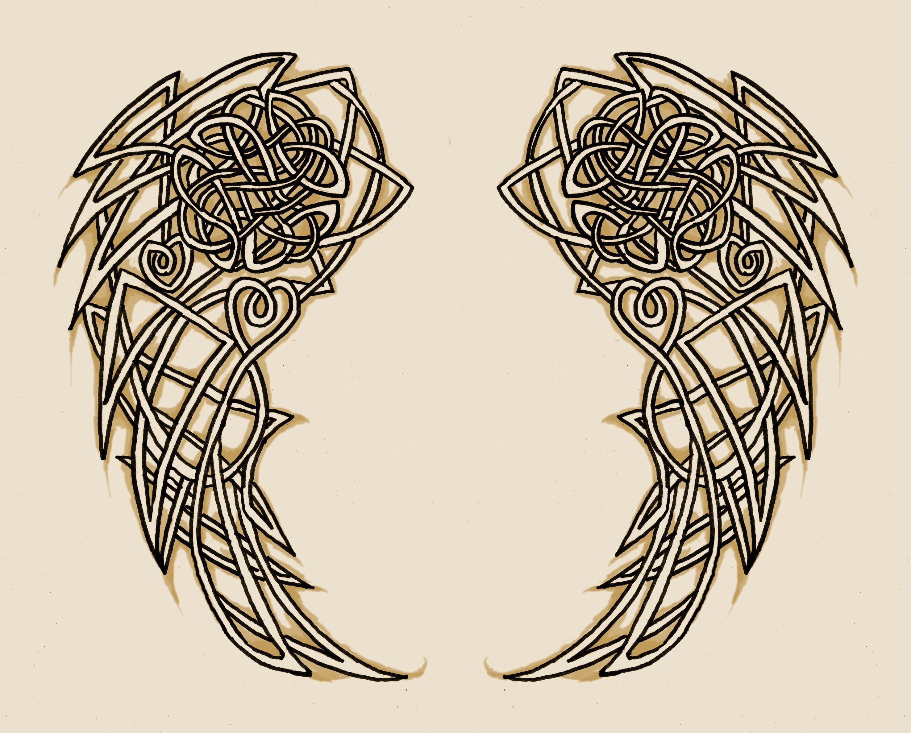 Celtic Knot Wings Tattoo Design By Torvald2000