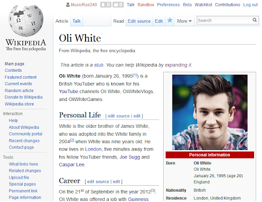 Creating a Wikipedia Page - Oli White