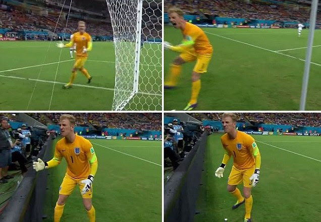 Joe Hart screams for the ball back