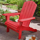 Outdoor Weather Resistant Eucalyptus Wood Adirondack Chair in Red Finish