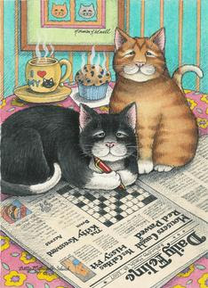 Cats Doing Crossword Puzzle Birthday (Bud & Tony)