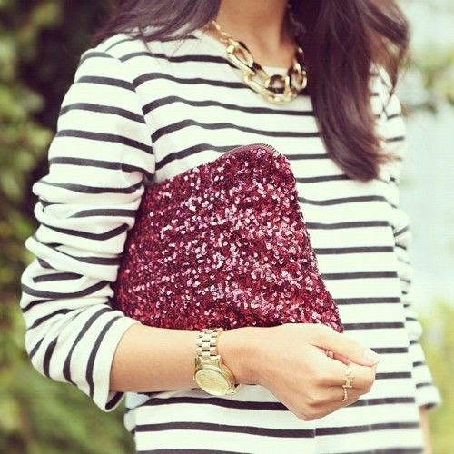 Striped shirt and sequins