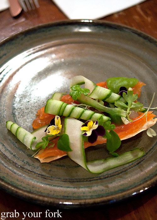 Gin-cured salmon with cucumber and lavosh