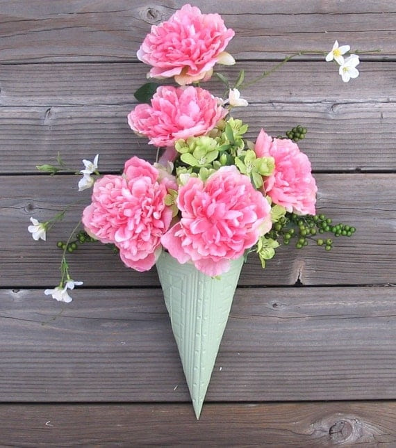 Wall Pocket with Pink Realistic Artificial Peonies - Alternative Door Wreath - Mint Green Cone Holder