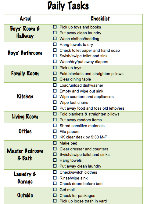Daily Chore Checklist for Family of Four