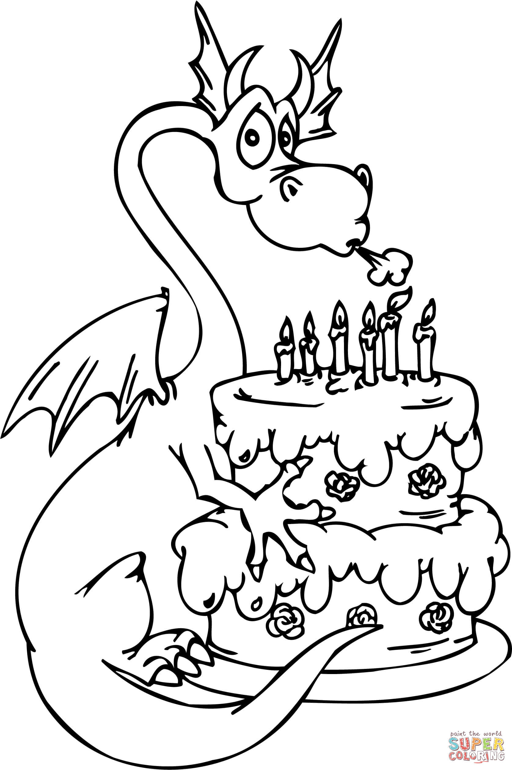 Dragon with Happy Birthday Cake coloring page | Free ...