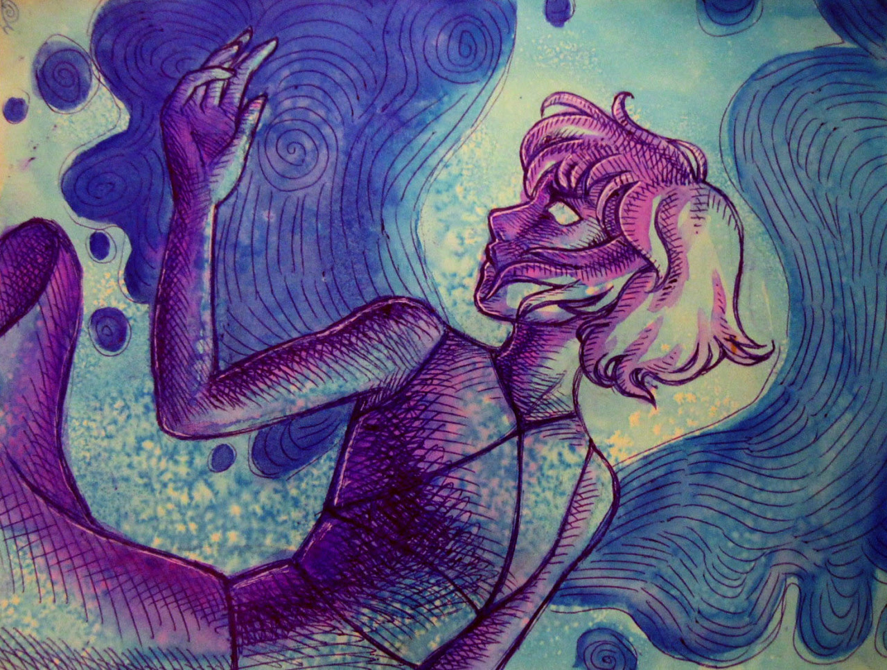 watercolor and ballpoint pen lapis for @thelamewitch