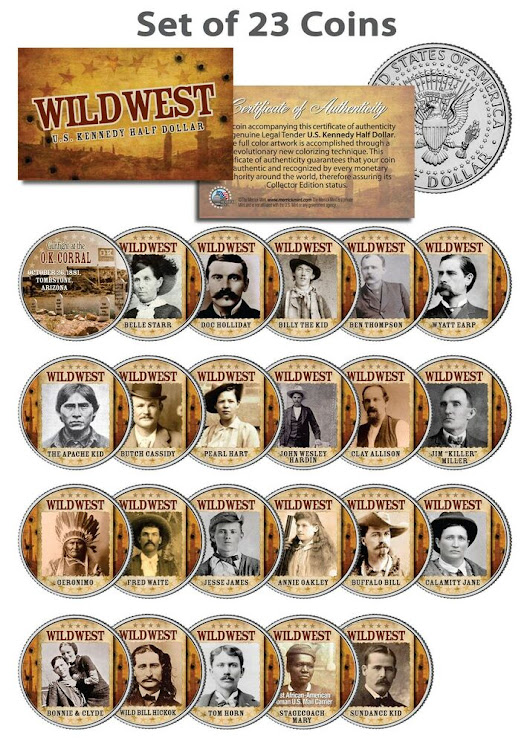 Details about WILD WEST / OLD WEST OUTLAWS Complete Set of 23 U.S. Mint JFK Half Dollar Coins