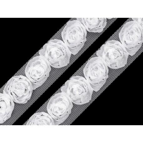 Tiulowa taśma z różyczkami biała