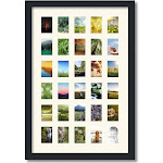 Collage Picture Frame, Satin Black Frame with 30 openings for 2x3 photos with Ivory Off White Mat. D3926FZ391 , ArtToframes