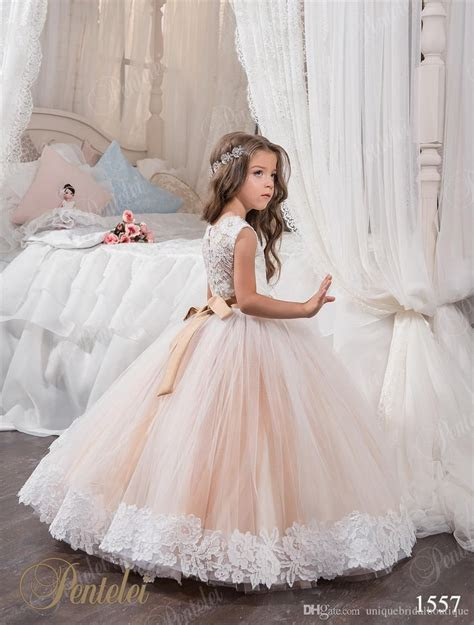 2018 Cheap Ball Gown Flower Girl Dresses Jewel Lace