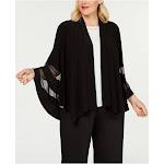 R&M RICHARDS Womens Black Bell Sleeve Open Cardigan Top