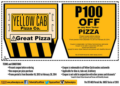 Yellow Cab Pizza Christmas Treat Promo - Get P100 OFF coupons