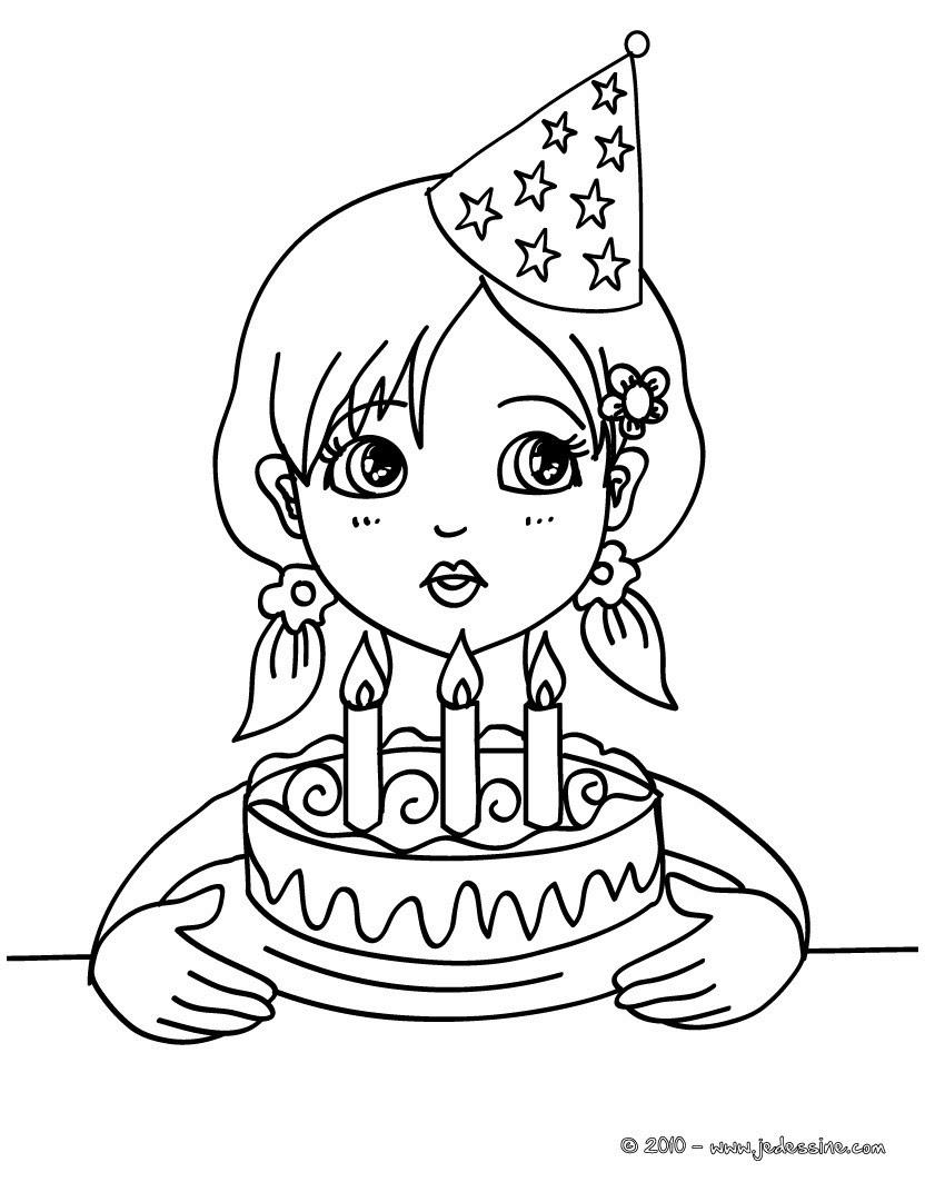 Coloriage fillette et son g¢teau d anniversaire
