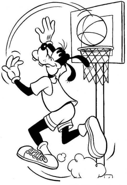 Dibujo Para Colorear A Gufy Jugando Basquetbol Colorear Dibujos De