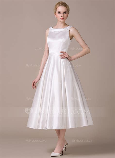 A Line/Princess Scoop Neck Tea Length Satin Wedding Dress
