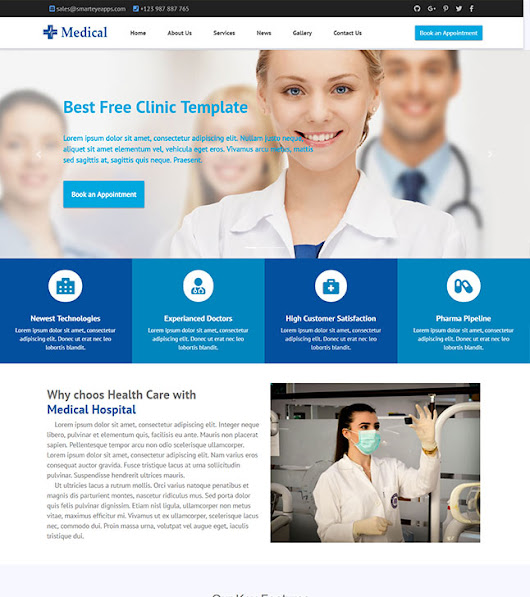Free Bootstrap Medical Hospital Website Template