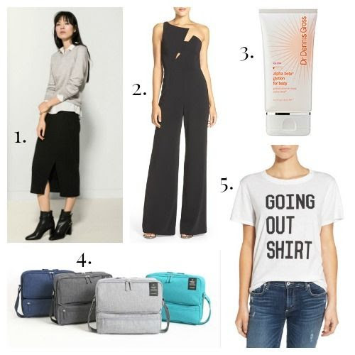 Massimo Dutti Skirt - Jay Godfrey Jumpsuit - Dr. Dennis Gross Lotion - Monopoly Travel Bag - Sub_Urban Riot Tee