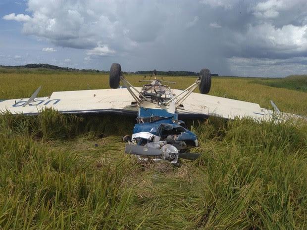 Avião monomotor caiu em Querência do Norte, no noroeste do Paraná, com 60 quilos de cocaína (Foto: Polícia Militar/Divulgação)