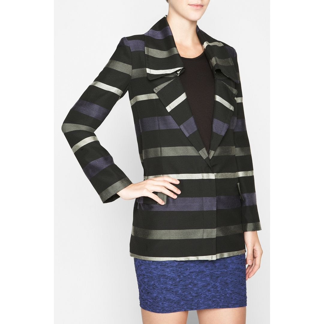 BCBGeneration Striped Wide Collar Coat