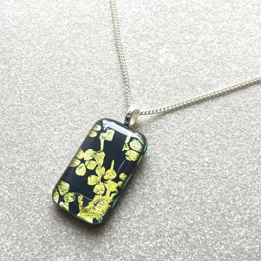 Pendant Necklace Gold Cherry Blossoms Glass Jewelry