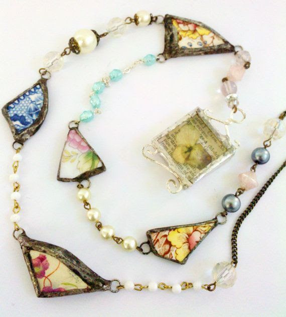 Broken China Rosary Necklace Shattered Dish Floral by Mystarrrs, $100.00