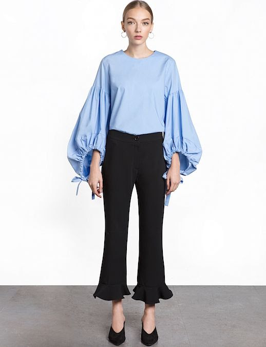 Le Fashion Blog Under $200 Blue Balloon Sleeve Tie Top Via Pixie Market
