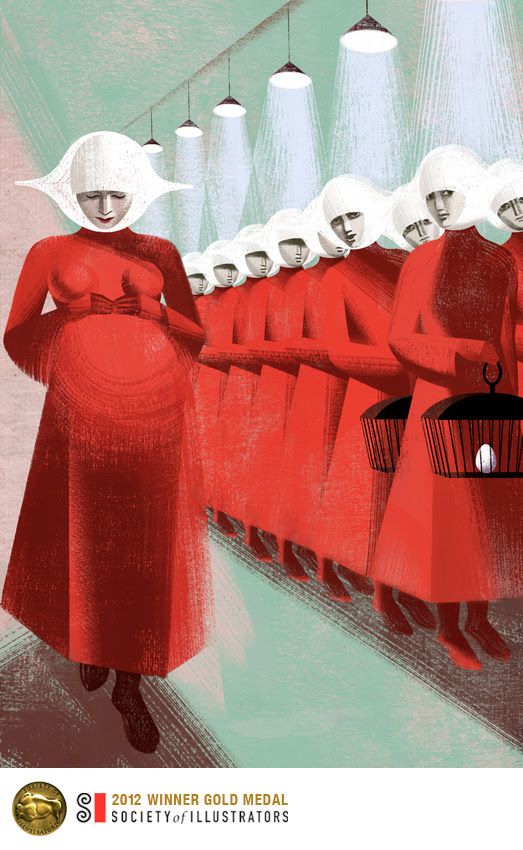 Anna, Elen Balbusso, V&A, Margaret Atwood, The Handmaid's tale,fiction, illustration, award, 2013, pregnant, red dress, uniform, Offred, jealousy