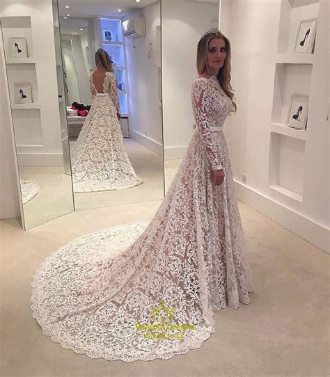 Elegant Illusion Lace Overlay Long Sleeve Wedding Dress