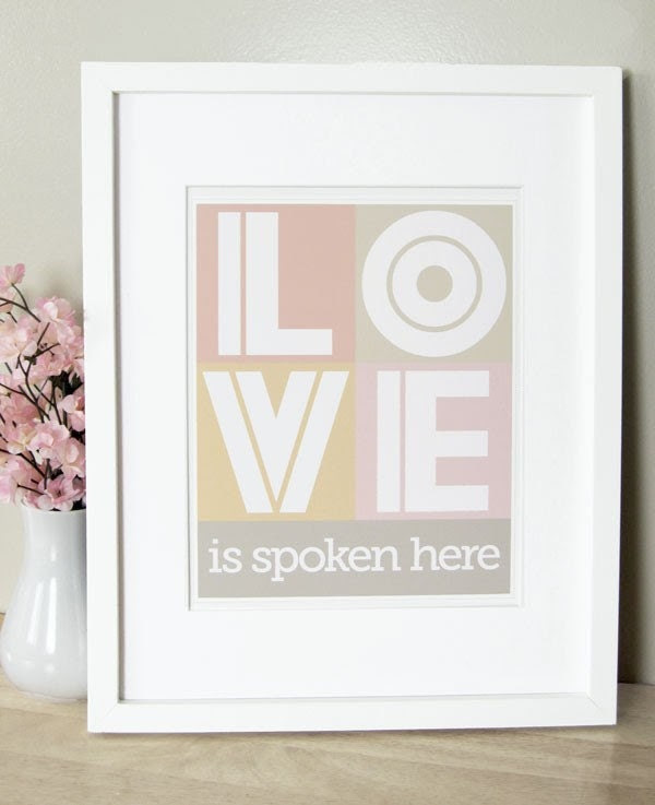 Love Is Spoken Here - 5 x 7 in Pink