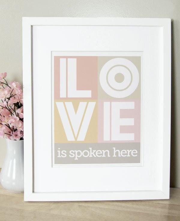 Love Is Spoken Here - 5 x 7 in Pink