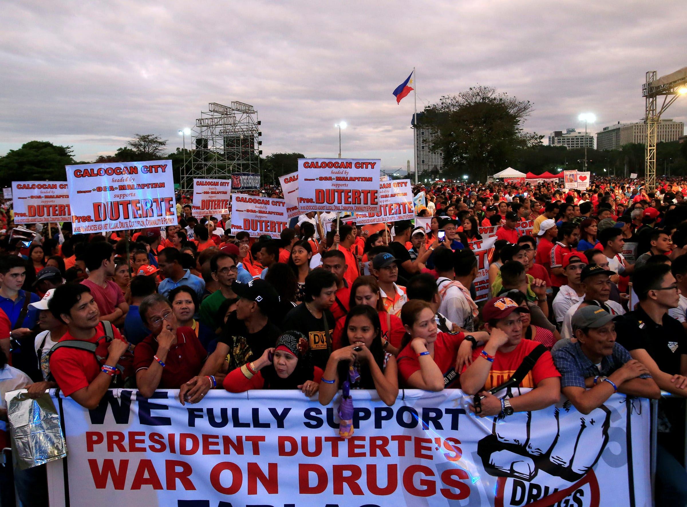 Philippines Rodrigo Duterte rally supporters drug war